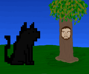 Tree Face and Pixel Cat SepiaFace
